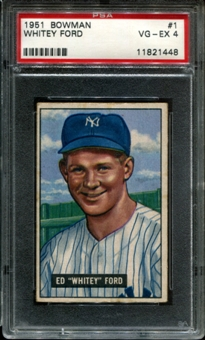 1951 Bowman Baseball #1 Whitey Ford Rookie PSA 4 (VG-EX) *1448