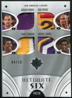 2008/09 Ultimate Collection Patches Six Kobe Bryant Magic Johnson Jordan Farmar Jerry West Odom Cooper 4/10