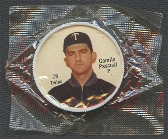 1962 Salada Baseball #78 Camilo Pascual Coin (Unopened Cello)