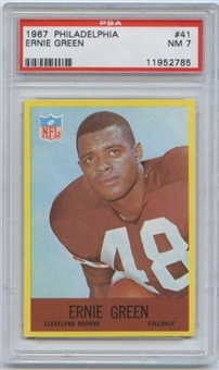 1967 Philadelphia Football #41 Ernie Green PSA 7 (NM) *2785