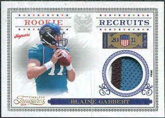 2011 Timeless Treasures Rookie Recruits Materials Prime #25 Blaine Gabbert /25