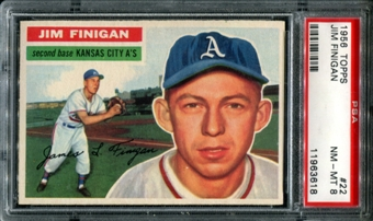1956 Topps Baseball #22 Jim Finigan PSA 8 (NM-MT) *3618
