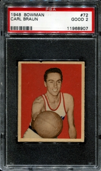 1948/49 Bowman Basketball #72 Carl Braun PSA 2 (GOOD) *8907