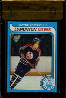 1979/80 Topps Hockey #18 Wayne Gretzky Rookie Beckett Raw Card Review 7.5 *9971