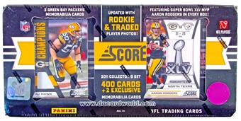 2011 Score Football Factory Set (Box) (Green Bay Packers) (2 Memorabilia Cards Per Set!)