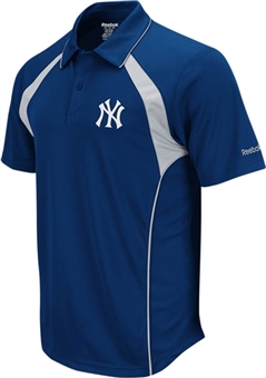 New York Yankees Reebok Dark Navy Trainer Polo Shirt (Size Large)