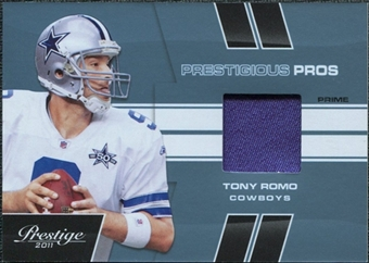 2011 Panini Prestige Prestigious Pros Materials Platinum Patches #49 Tony Romo /50