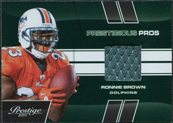 2011 Panini Prestige Prestigious Pros Materials Green #42 Ronnie Brown /100