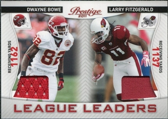 2011 Prestige League Leaders Materials #12 Dwayne Bowe Larry Fitzgerald /200