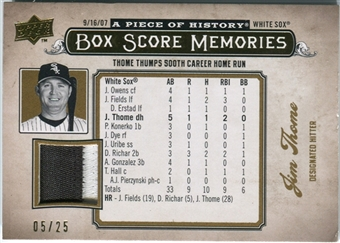 2008 Upper Deck UD A Piece of History Box Score Memories Jersey Gold Patch #BSM12 Jim Thome 5/25