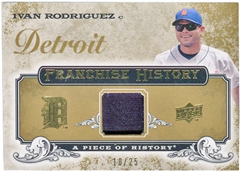 2008 Upper Deck UD A Piece of History Franchise History Jersey Gold Patch #FH21 Ivan Rodriguez 10/25