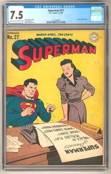 Superman #27 CGC 7.5 (LT-OW) *1211387007*