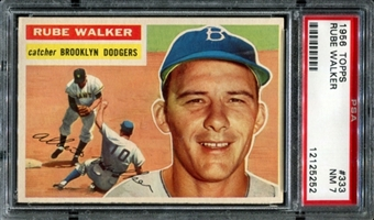 1956 Topps Baseball #333 Rube Walker PSA 7 (NM) *5252