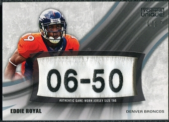 2009 Topps Unique Laundry Tag Relic #ERE3 Eddie Royal 1/1