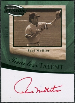 2009 Press Pass Fusion Autographs Green #SSPM Paul Molitor Autograph 2/10