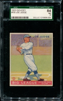 1933 Goudey Baseball #155 Joe Judge SGC 84 (NM 7) *6034