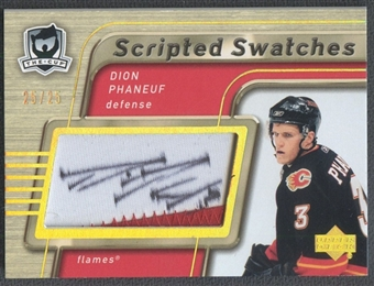 2005/06 The Cup #SSDP Dion Phaneuf Scripted Swatches Patch Auto #25/25
