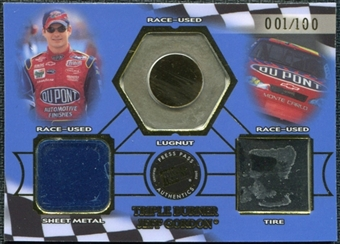 2002 Press Pass Triple Burner #TB2 Jeff Gordon 1/100 Lugnut Sheet Metal Tire