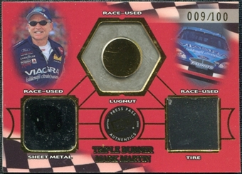 2002 Press Pass Triple Burner #TB7 Mark Martin 9/100 Lugnut Sheet Metal Tire