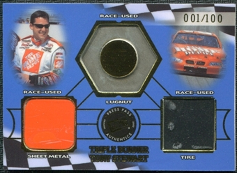 2002 Press Pass Triple Burner #TB8 Tony Stewart 1/100 Lugnut Sheet Metal Tire