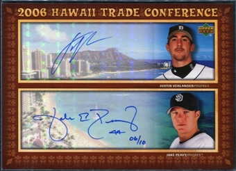 2006 Upper Deck Hawaii Trade Conference Signature Dual Jumbos #HTC2VP Justin Verlander Jake Peavy 6/10