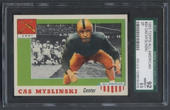 1955 Topps All American Football #25 Casimir Myslinski SGC 92 (NM/MT+) *9019