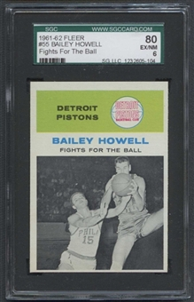 1961/62 Fleer Basketball #55 Bailey Howell IA SGC 80 (EX/NM 6) *5104