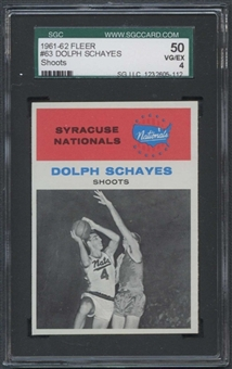1961/62 Fleer Basketball #63 Dolph Schayes IA SGC 50 (VG/EX 4) *5112