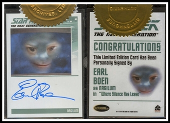 The Complete Star Trek The Next Generation Autographs #67 Earl Boen (Rittenhouse 2011)