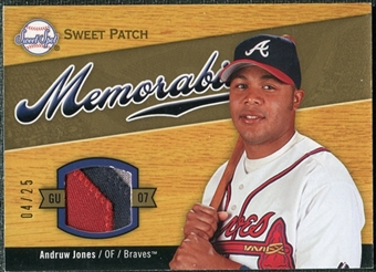 2007 Upper Deck Sweet Spot Sweet Swatch Memorabilia Patch #AJ Andruw Jones 4/25