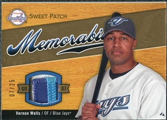 2007 Upper Deck Sweet Spot Sweet Swatch Memorabilia Patch #VW Vernon Wells 7/25