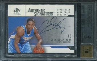 2003/04 SP Signature Edition Signatures #CA Carmelo Anthony SP BGS 9 Mint *9700