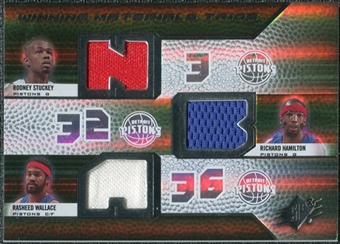 2008/09 Upper Deck SPx Winning Materials Trios #WMTHWS Rodney Stuckey Richard Hamilton Rasheed Wallace