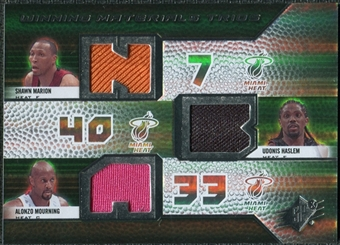 2008/09 Upper Deck SPx Winning Materials Trios #WMTMMH Shawn Marion Udonis Haslem Alonzo Mourning