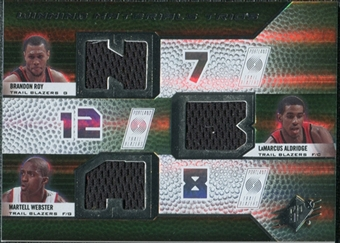2008/09 Upper Deck SPx Winning Materials Trios #WMTWAR Brandon Roy LaMarcus Aldridge Martell Webster
