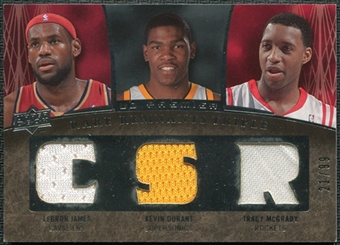 2007/08 Upper Deck Premier Rare Remnants Triple #JDM LeBron James Kevin Durant Tracy McGrady 21/99