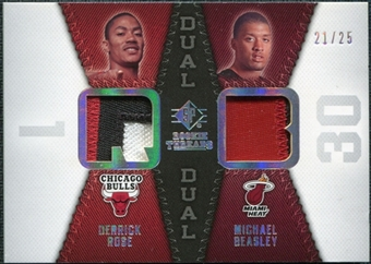 2008/09 Upper Deck SP Rookie Threads Rookie Threads Dual Patch #RTDBR Derrick Rose Michael Beasley 21/25
