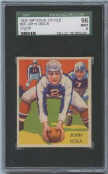 1935 National Chicle Football #26 John Isola SGC 96 (MINT 9)