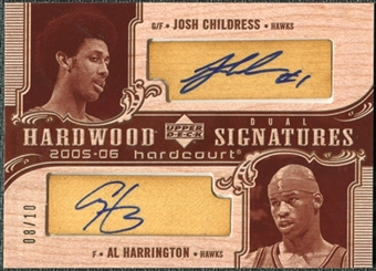 2005/06 Upper Deck Hardcourt Hardwood Signatures Dual #CH Josh Childress Al Harrington Autograph /10
