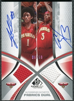 2005/06 SP Game Used Authentic Fabrics Dual Autographs #CH Josh Childress Al Harrington /25