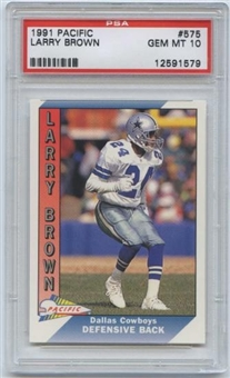 1991 Pacific Football #575 Larry Brown PSA Gem MT 10