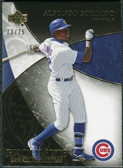 2007 Upper Deck Exquisite Collection Rookie Signatures Gold #100 Alfonso Soriano /75