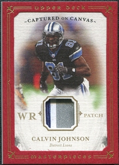 2008 Upper Deck Masterpieces Captured on Canvas Jerseys Patch #CC6 Calvin Johnson 25/50