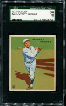 1933 Goudey Baseball #233 Johnny Vergez SGC 84 (NM 7) *8149