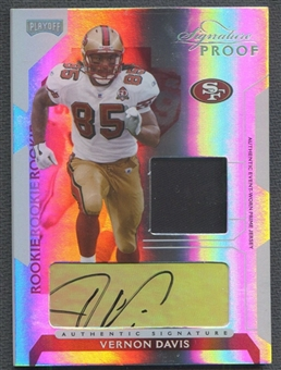 2006 Playoff NFL Playoffs #84 Vernon Davis Rookie Jersey Auto Proofs Platinum #1/1