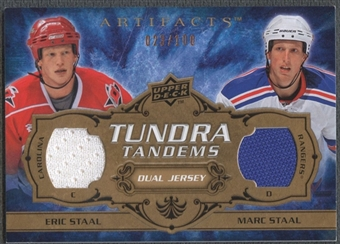 2008/09 Artifacts #TTEM Eric Staal & Marc Staal Tundra Tandems Jersey #023/100