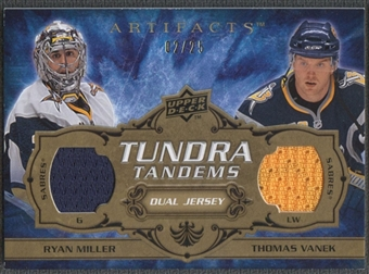 2008/09 Artifacts #TTMV Ryan Miller & Thomas Vanek Tundra Tandems Gold Jersey #02/25