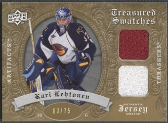 2008/09 Artifacts #TSDKL Kari Lehtonen Treasured Swatches Dual Gold Jersey #63/75