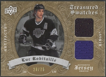 2008/09 Artifacts #TSDLR Luc Robitaille Treasured Swatches Dual Gold Jersey #28/75