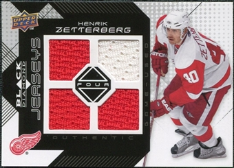 2008/09 Upper Deck Black Diamond Jerseys Quad #BDJHZ Henrik Zetterberg